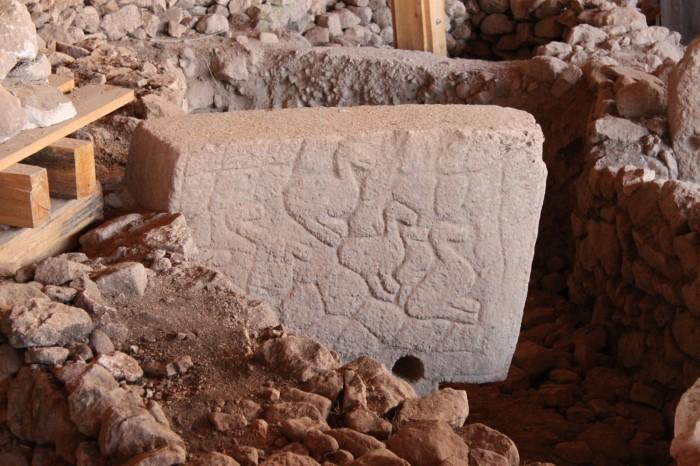 Une stèle avec des canards à Göbekli Tepe
