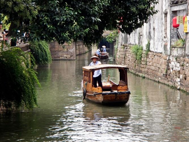 Gondoles à Suzhou sur pingjiang-lu