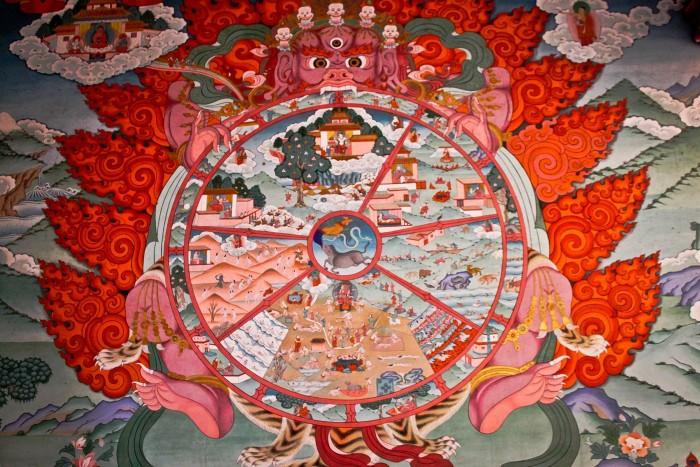 Roue de la vie, monastère Jingang à Kangding