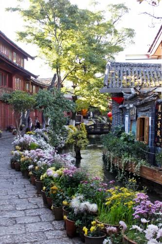 Rue fleurie de Lijiang au Yunnan